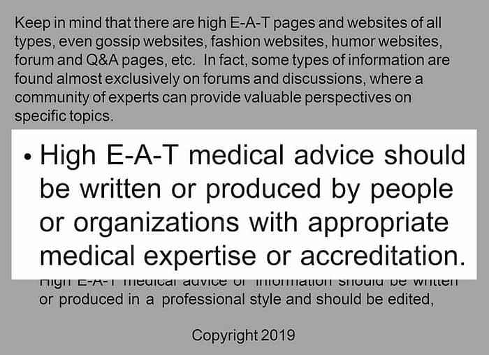 google guidelines creating high EAT medical advice