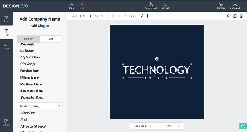 DesignEvo makes professional-looking logos.