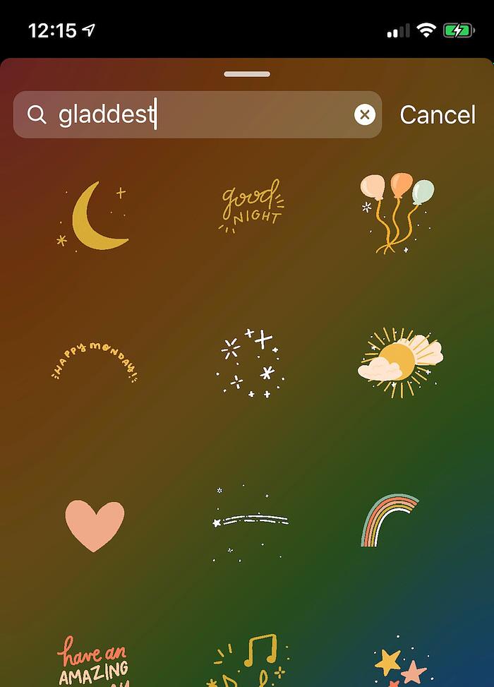custom Instagram sticker Gladdest