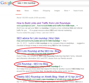 Screenshot how to find a link roundup for better SEO rankings