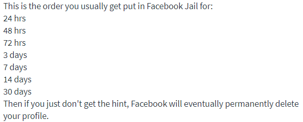 how to get out of Facebook Jail