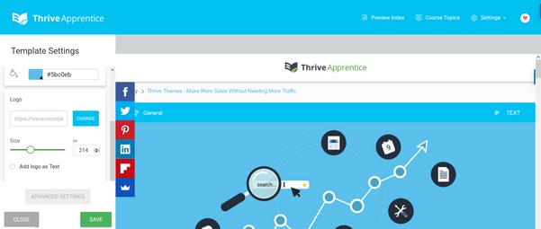 template settings create online course WordPress