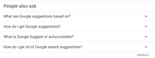 auto suggestion examples subheads