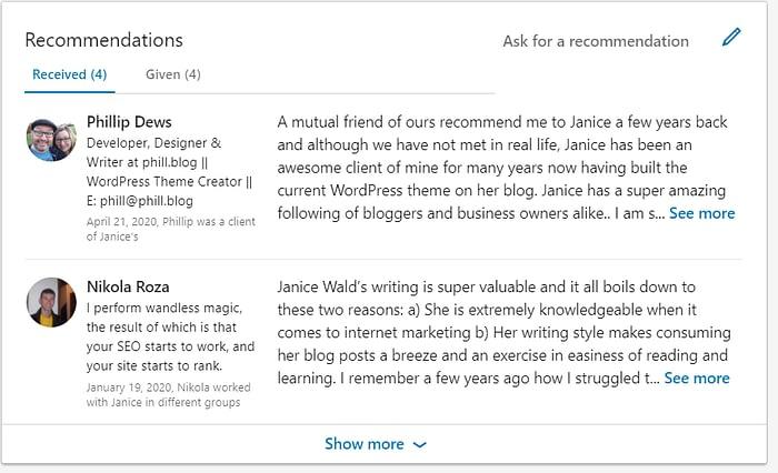customer recommendation LinkedIn