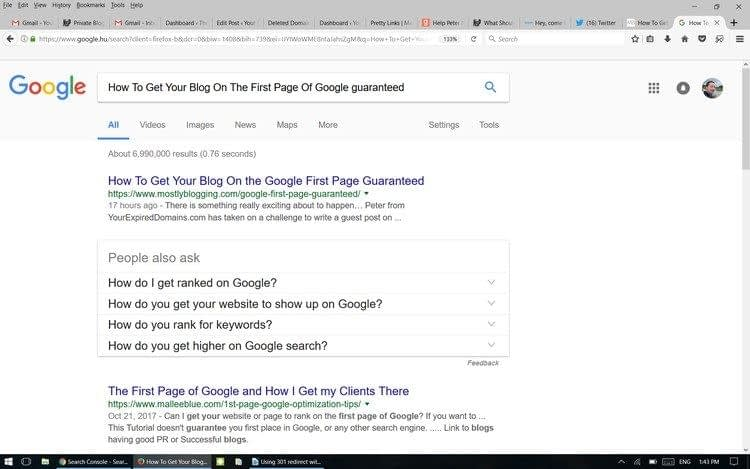 Google first page guaranted for free: The screenshot proves these methods work in 9 hours