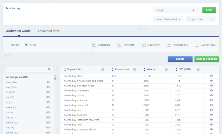 Kparser Keyword Research Tool