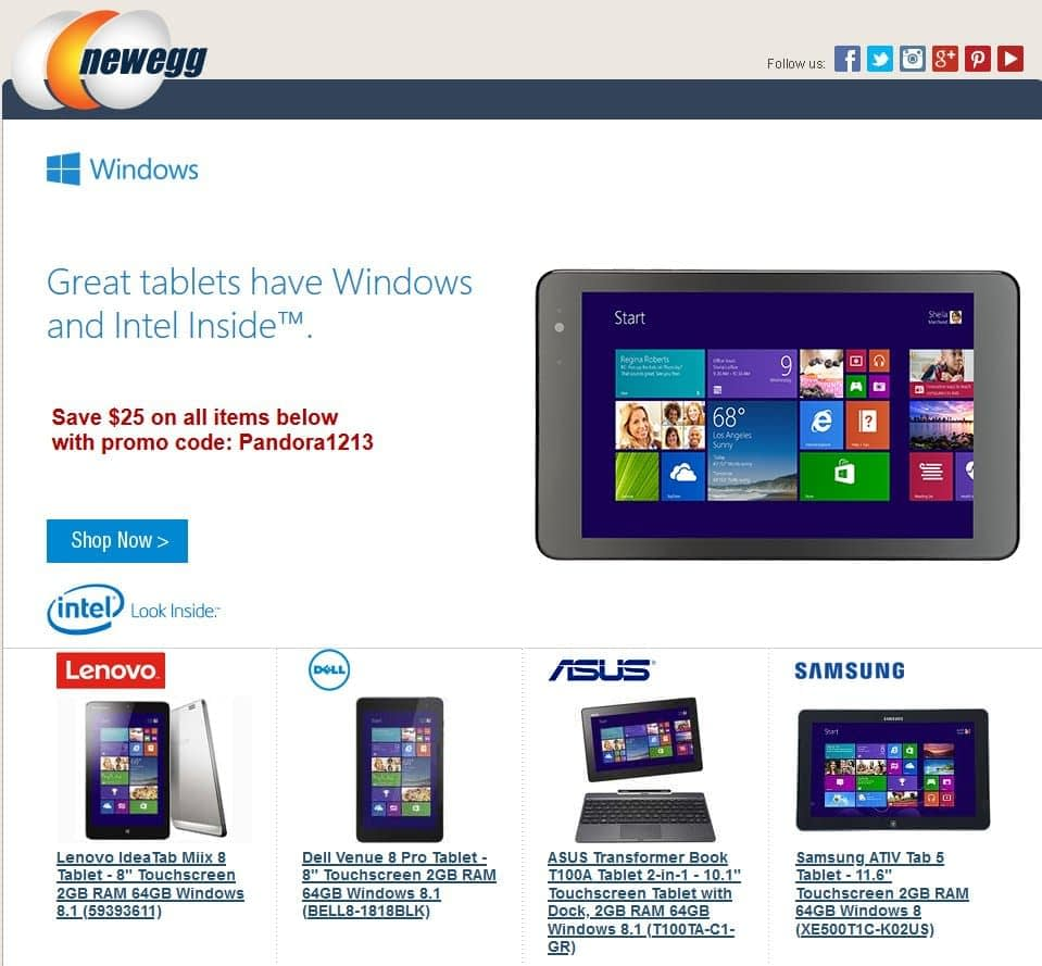 Newegg tablet landing page