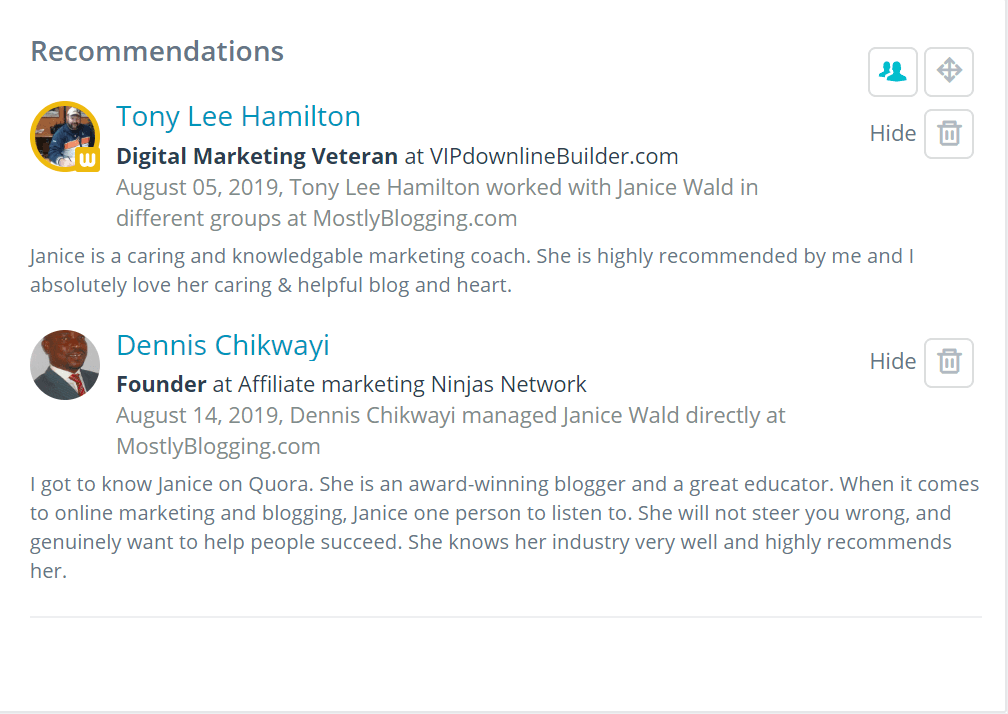 How to get testimonials on WebTalk per per lead site